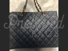 "Sold - Chanel 12.99"" Navy Blue Caviar Grand Chain Shopper Tote Bag with 24 Carat Gold Plated Hardware"