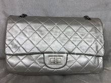 "Chanel 11"" Metallic Silver Distressed Calfskin Matte With Silver Hardware 07973668765"