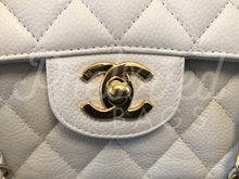 "SOLD - Chanel 10"" 2.55 White Caviar Leather Double flap Shoulder Bag Gold Hardware - PrelovedBags Chanel"