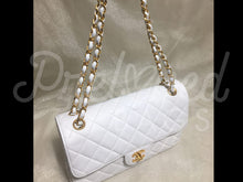"SOLD - Chanel RARE 10"" White Lamb Double Faced Double flap Shoulder Bag 24 Carat Gold Plated Hardware - PrelovedBags Chanel"