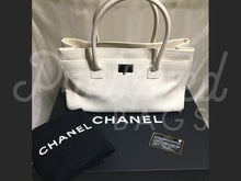 "Chanel 14"" Ivory Executive Cerf Leather Tote Silver Hardware - PrelovedBags Chanel"