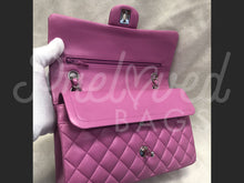 "SOLD - Chanel 10"" 2.55 Pink Lambskin Leather Double flap Shoulder Bag With Silver Tone Hardware - PrelovedBags Chanel"