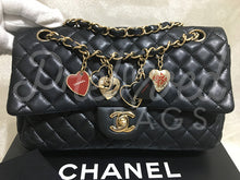 "SOLD - Chanel 10"" 2.55 Black Lambskin Double Flap Valentine Charm Bag With Gold Tone Hardware - PrelovedBags Chanel"