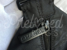 "SOLD - Chanel 14.5"" Very Rare Black Quilted Jacquard Fabric Travel Line Weekender With Black Tone Hardware. - PrelovedBags Chanel"