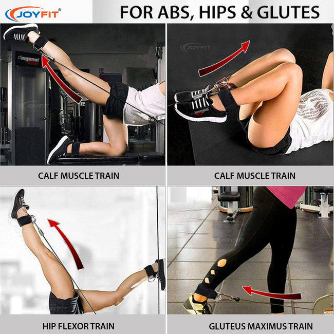 Adjustable Ankle Straps Padded with D Ring for Gym Exercises