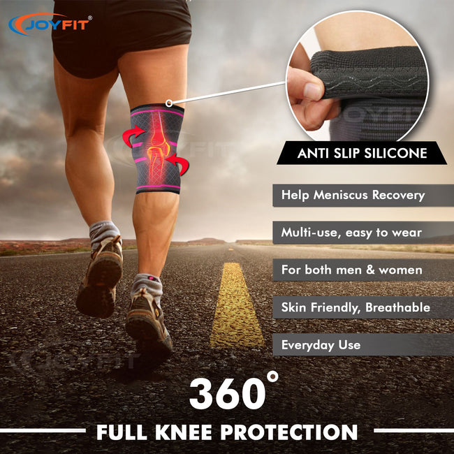 Joyfit 1 Pc. Knee Sleeve for Running, Badminton, Sports, and Gym for Versatile Knee Support