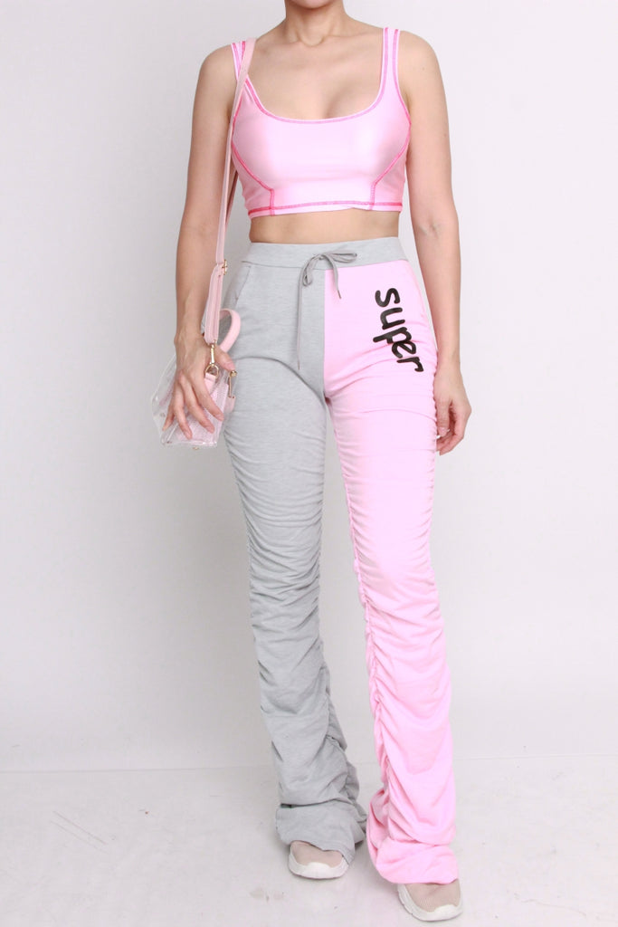 PINK AND GREY SUPER Stacked Up JOGGERS