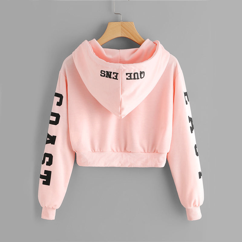 EAST COST QUWEEN - Pink Cropped Hoodie