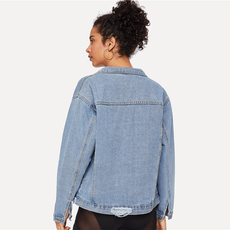 Ripped Blue Plain Jean Long Sleeve