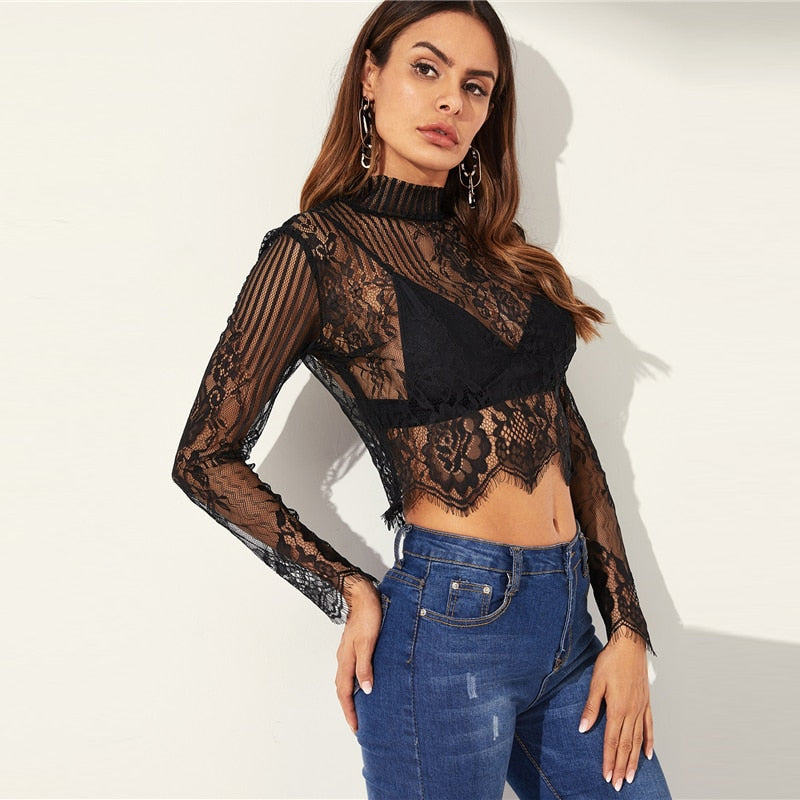 Peace Monet- Black Sheer Lace Top -