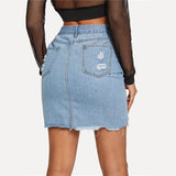 Peace Monet- Blue Casual High Waist Ripped Denim Short Skirt -