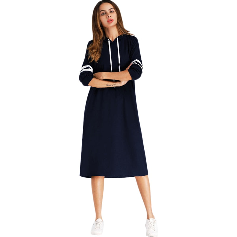 Peace Monet- Navy Varsity Striped Hoodie Dress -