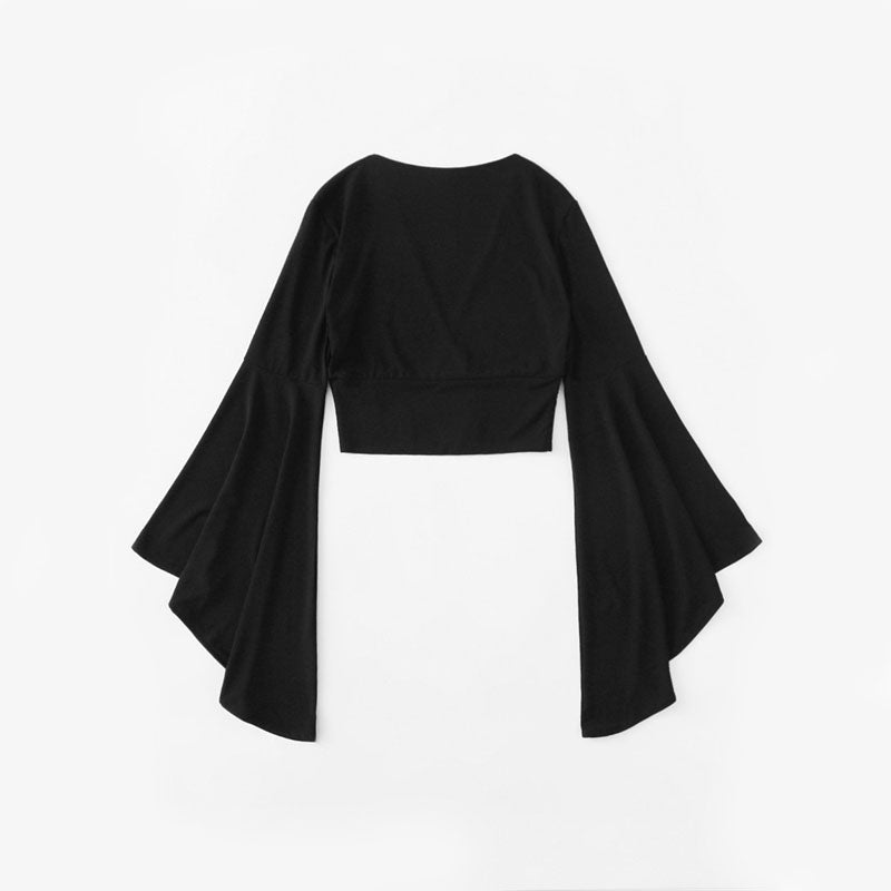 Peace Monet- Black V Neck Ruffle Sleeve Shirt -