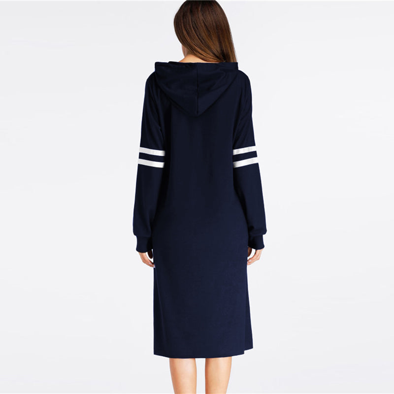 Navy Varsity Striped Hoodie Dress