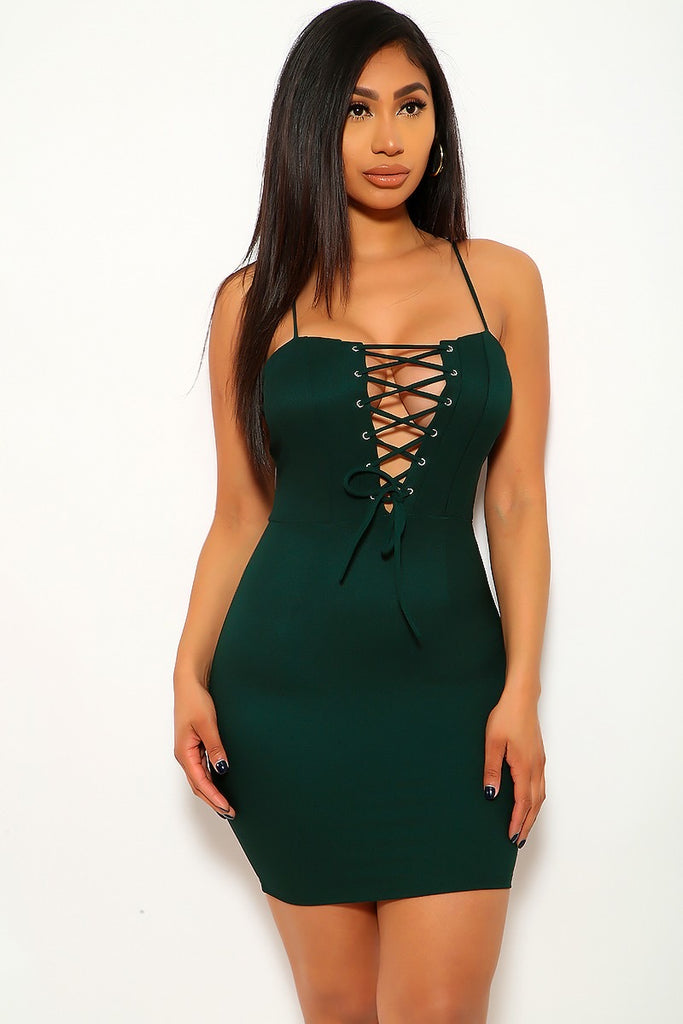 Peace Monet- GREEN BODYCON FRONT TIE DRESS -