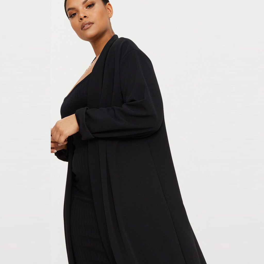 Peace Monet- Black Open Blazer Crepe Maxi Duster Jacket -