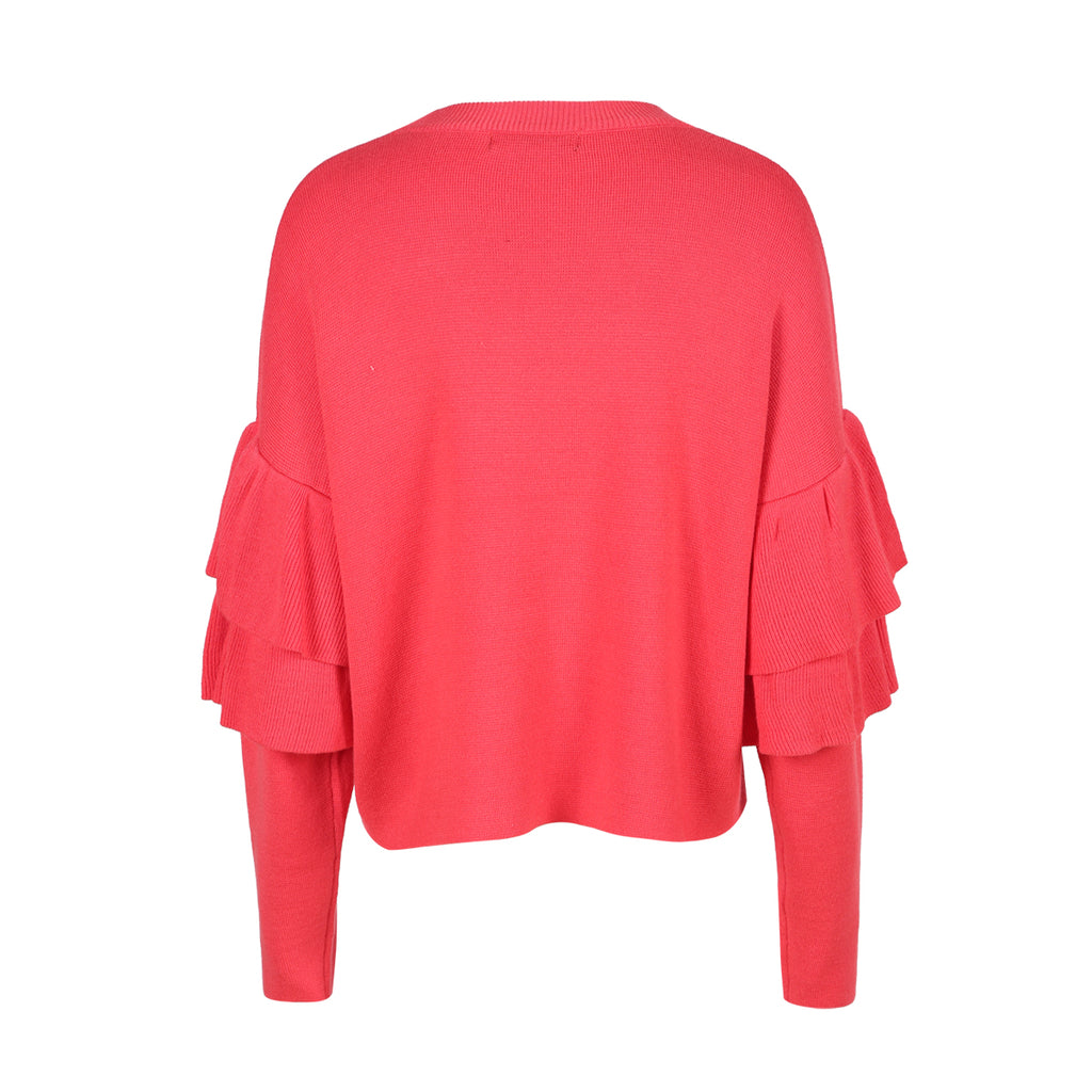 Peace Monet- Butterfly Sleeve Red Casual Sweater -