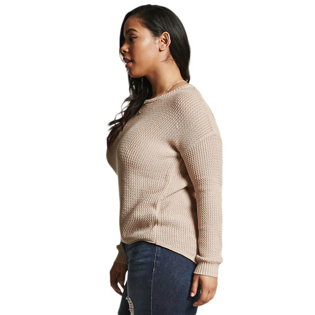 Peace Monet- Tan Hollow Out Back Basic Sweater -