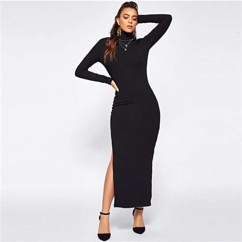 Peace Monet- Black Split Side Rib Knit Fitted Dress -