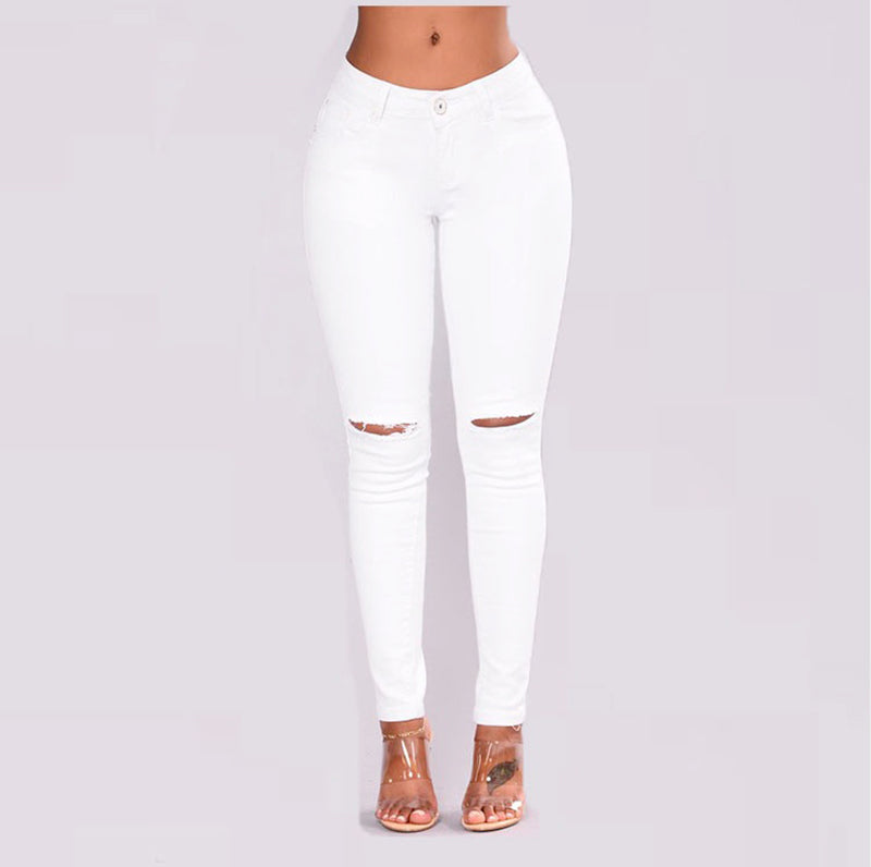 Ripped hole white jeans