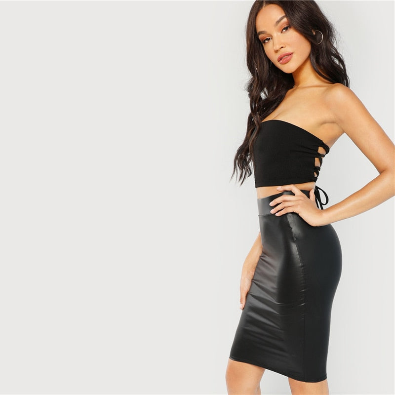 Black Solid Pencil Skirt
