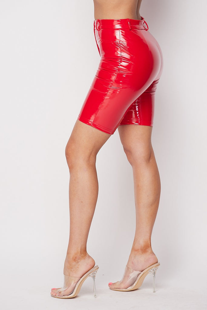RED LATEX BIKE SHORTS