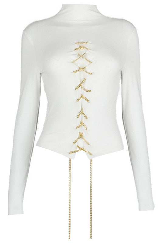 GOLD Metal Chain Lace-up Turtle Neck Tops