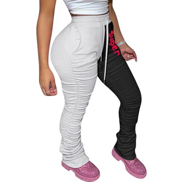 Super High Waist Hem Ruched Stacked Sweatpants