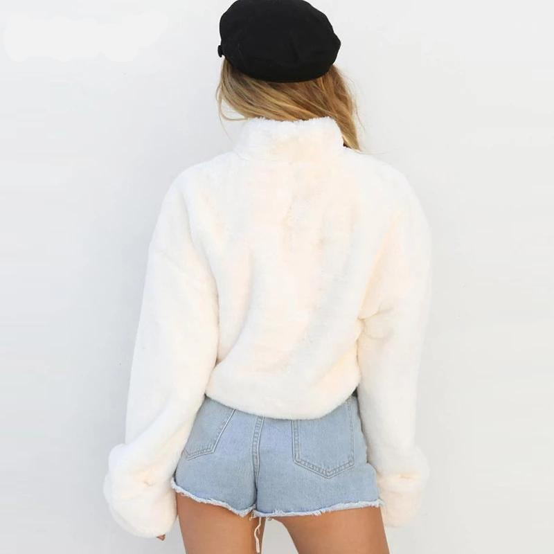 White Plush Turtleneck Sweater