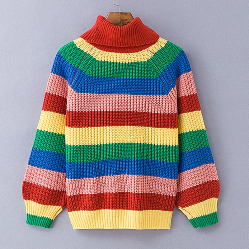 Rainbow turtleneck oversized sweater
