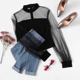 Peace Monet- Solid & Sheer Mesh Yoke Collar Long Sleeve Blouse -