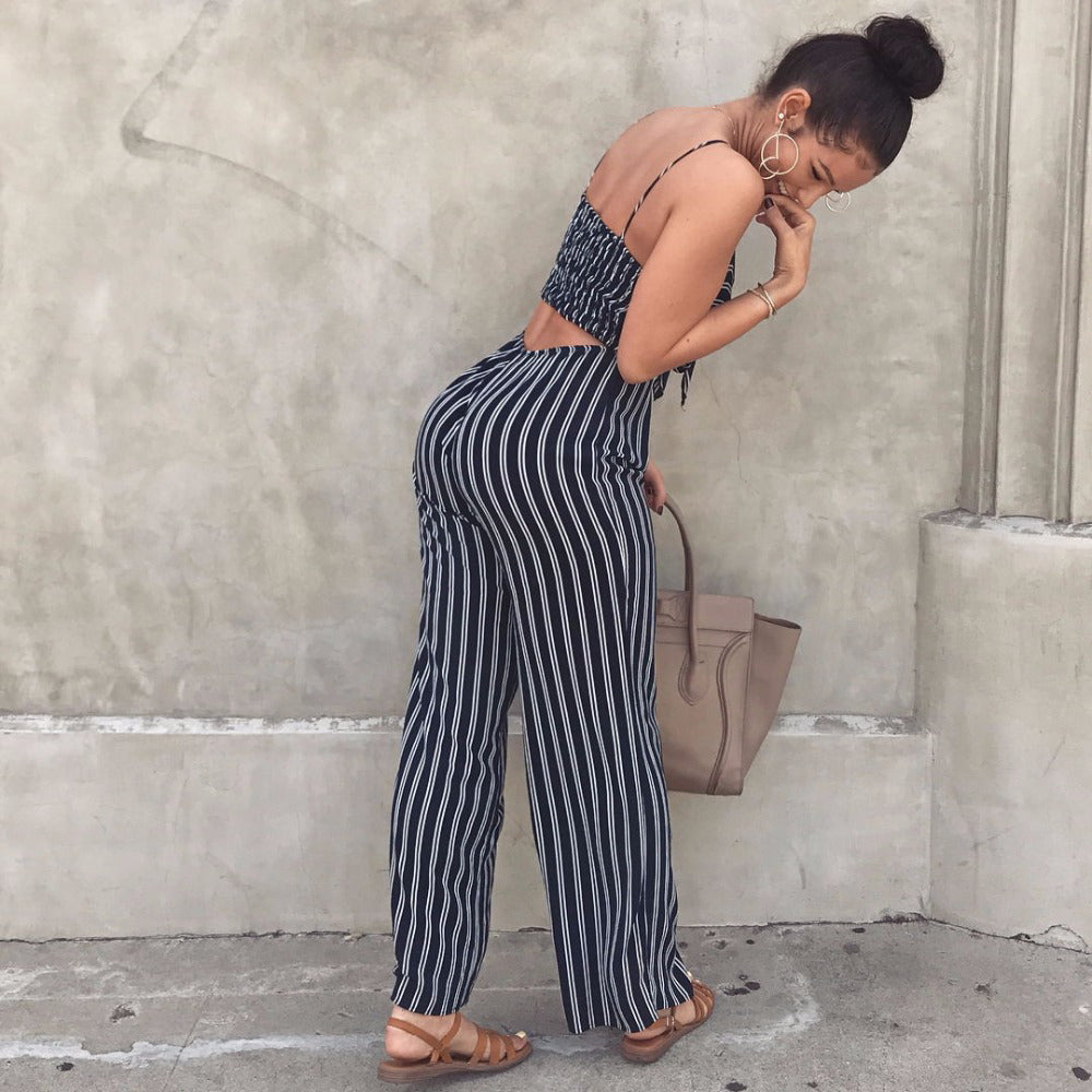 Peace Monet- Striped  Spaghetti Strap Wide Leg Jumpsuits -