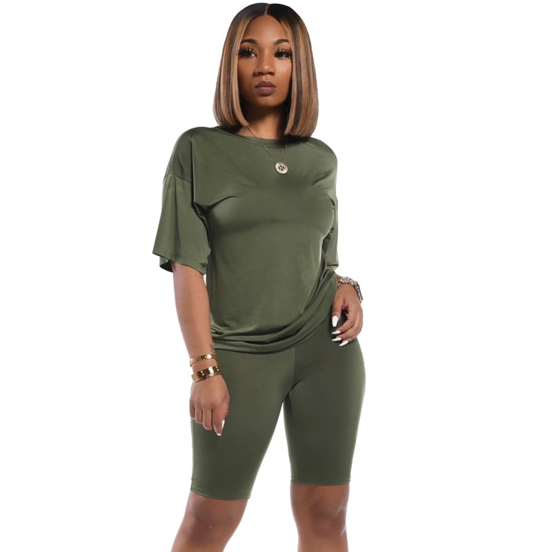 Peace Monet- Simple Top and Biker Shorts Matching Tracksuit -