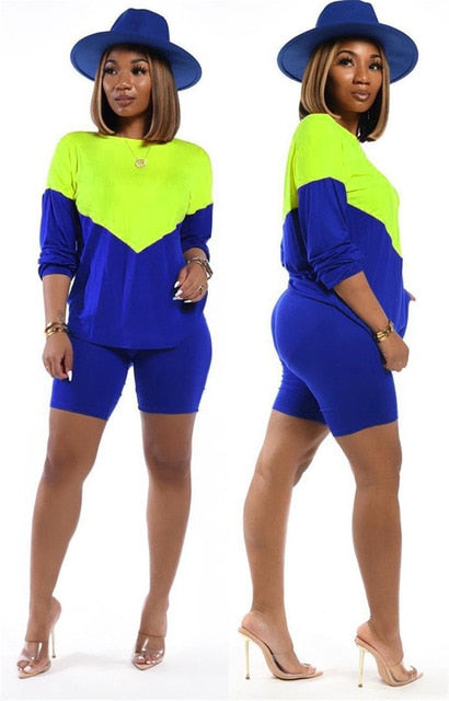 Peace Monet- Color Block Long Sleeve Top + Shorts Casual Matching Sets -
