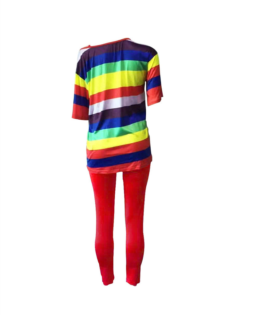 Peace Monet- Rainbow Today Two Piece Set shorts Sleeve Bodycon pants -