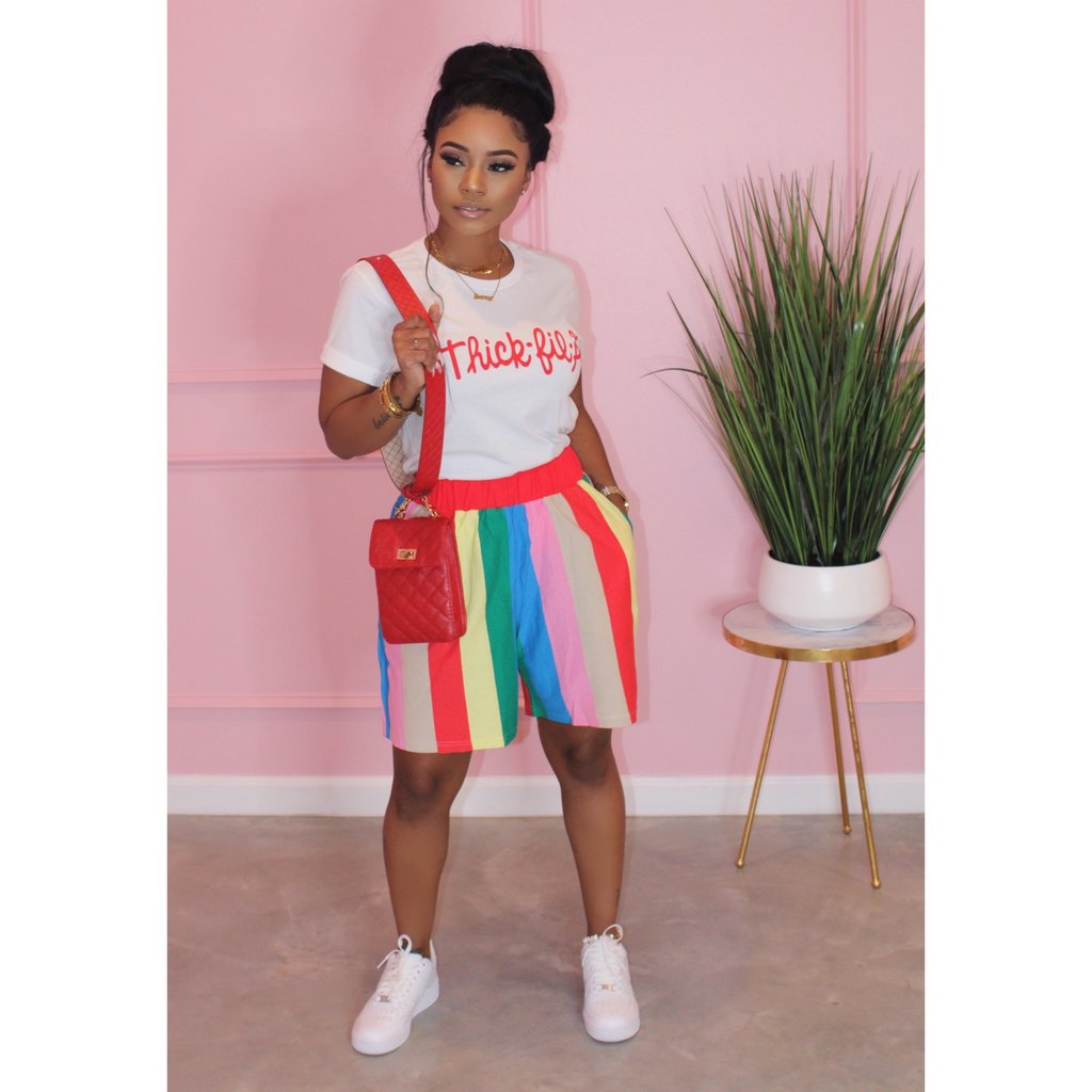 Peace Monet- Thick fa la T-Shirt with Rainbow Striped Loose Shorts Two Piece Set -