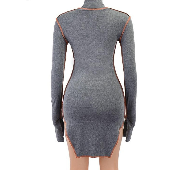 Side Slit Casual Long Sleeve Bodycon Mini Dress