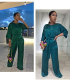 Solid Satin Half Sleeve Wide Leg Jumpsuit w/ Belt