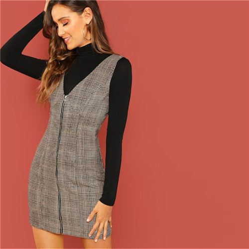 Casual Coffee Deep V Neck Zipper Up Fitted Sleeveless Plaid Dress