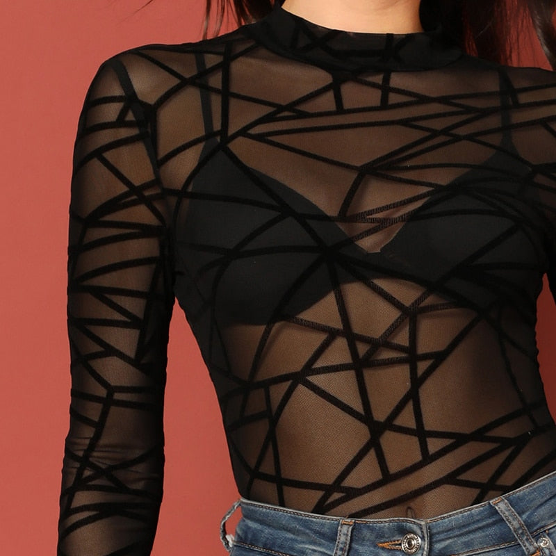 Peace Monet- Black Mesh Geometric Without Bra Long Sleeve Tops -