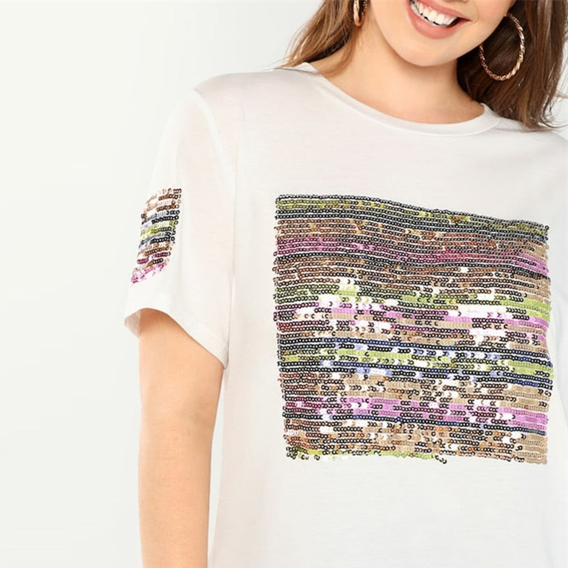 Peace Monet- Sequin Striped Short Sleeve T-shirt -