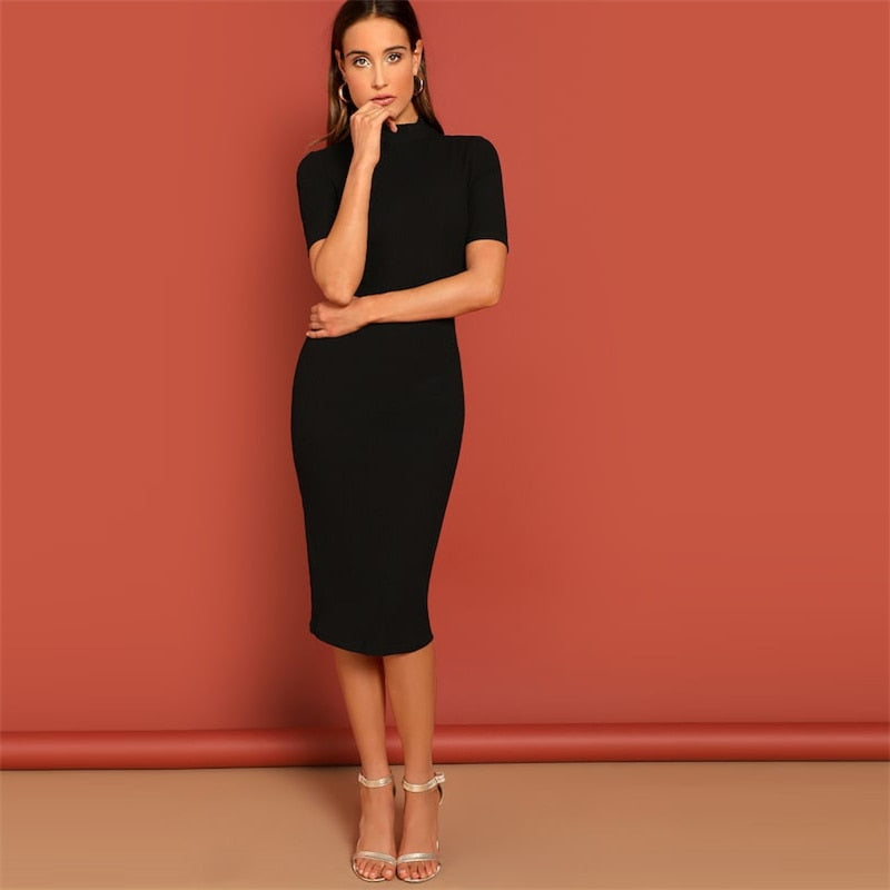 Black Mock Neck Rib-knit Stretchy Knee Length Bodycon Dress