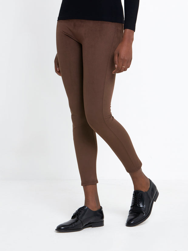 Elle Brown Faux Leather Legging