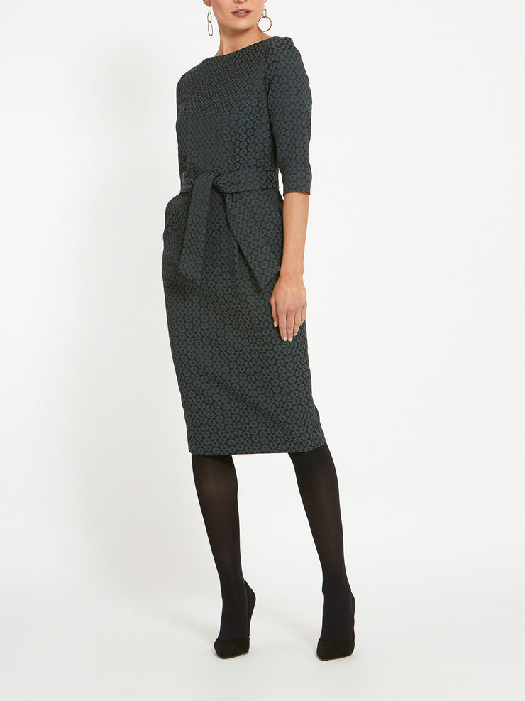 Caroline Grey Jacquard Dress