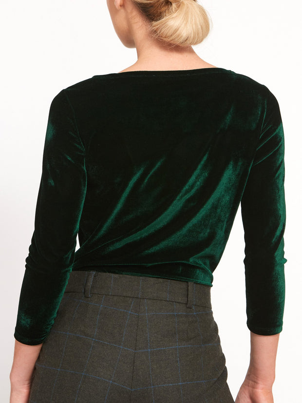 Teagan Forest Green Velvet Top