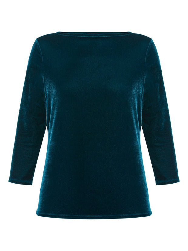 Teagan Teal Velvet Top