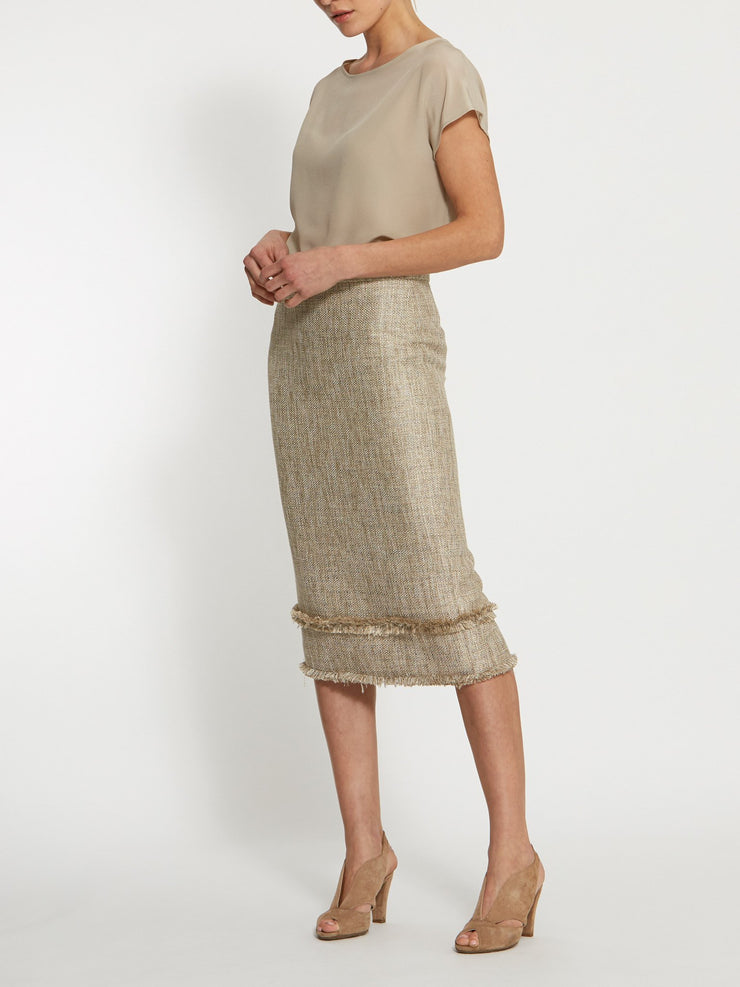 Joan Gold Boucle Skirt