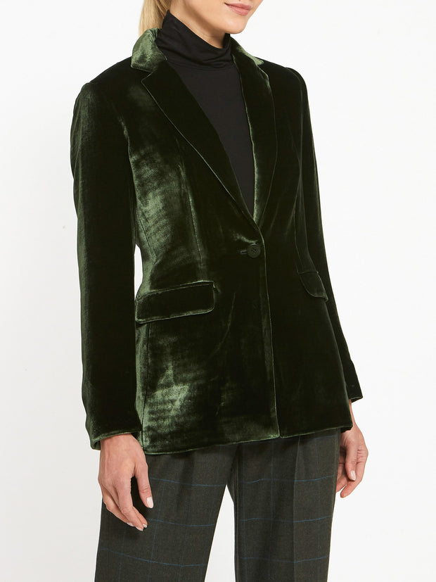 Willow Olive Velvet Blazer