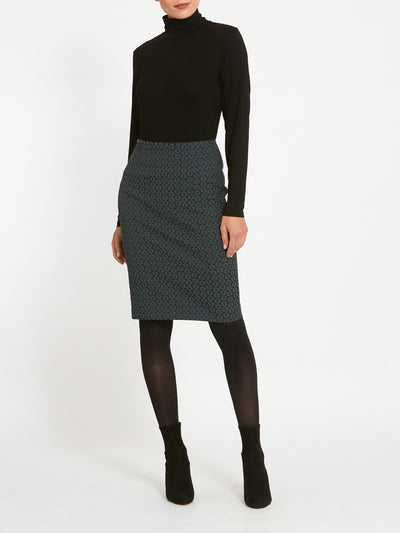 Beth Grey Jacquard Skirt
