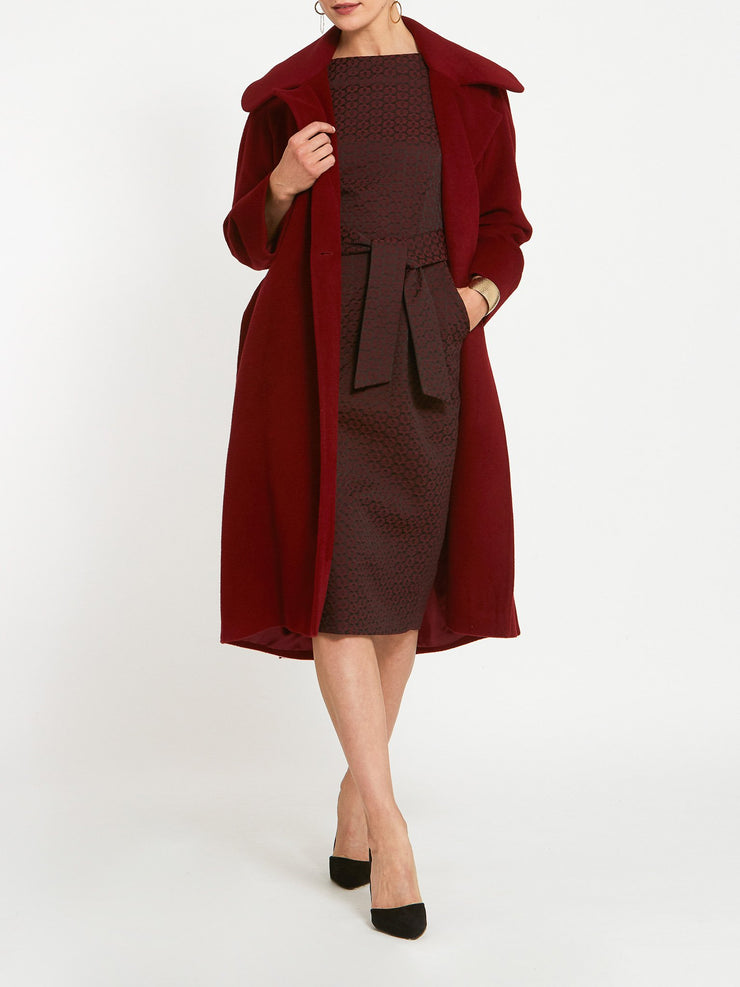 Caroline Burgundy Jacquard Dress